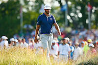 Dustin Johnson makes his way to the 12th fairway during the 2016 U.S. Open in Oakmont, Pennsylvania on Sunday June 19, 2016. (Photo by Jared Wickerham / DKPS)