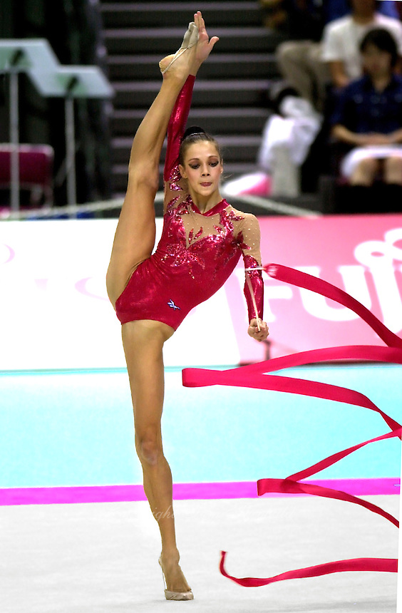03 OCTOBER 1999 - OSAKA, JAPAN: Irina Tchachina of Russia performs with ribbon at the 1999 World Championships in Osaka, Japan. Irina went on to become 2004 Athens Olympic silver medalist.<br /> (Note: all frame version without cropping)
