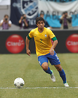 Brazil defender Rafael Silva (2) brings the ball forward. In an international friendly (Clash of Titans), Argentina defeated Brazil, 4-3, at MetLife Stadium on June 9, 2012.