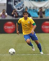Brazil defender Rafael Silva (2) brings the ball forward. In an international friendly (Clash of Titans), Argentina defeated Brazil, 4-3, at MetLife Stadium on June 9, 2012.