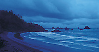 Oregon. Cannon Beach in Ecola State Park, explored by Lewis and Clark in the winter of 1906, These United States Book pages 154-155