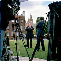 UK. London. From a story on Abingdon Street Gardens, a small patch of land, often referred to as College Green, that lies next to The Houses of Parliament in Westminster. It is a place where the media and the politicians come face to face. Interviews are held, photo shoots are set up and bewildered tourists stroll by..Photo shows Former Deputy Prime Minister John Prescott talking to the BBC on the day Gordon Brown took over as British Prime Minister..Photo©Steve Forrest/Workers Photos .