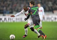 FUSSBALL   1. BUNDESLIGA  SAISON 2011/2012   19. Spieltag   29.01.2012 VfB Stuttgart - Borussia Moenchengladbach    Cacau (li, VfB Stuttgart) gegen Patrick Herrmann (Borussia Moenchengladbach)