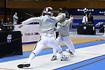 DURHAM, NC - FEBRUARY 26: Notre Dame's Jonah Shainberg (left) and Jonathan Fitzgerald (right) compete in a Men's Saber semifinal bout. The Atlantic Coast Conference Fencing Championships were held on February, 26, 2017, at Cameron Indoor Stadium in Durham, NC.