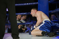 Moscow, Russia, 05/06/2010..Vladislav Lashkov slumps to the canvas in a boxing bout at the new Fight Nights boxing tournament, featuring kick-boxing, boxing and mixed fighting.