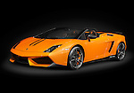 Orange Lamborghini Gallardo LP570-4 Spyder Performante isolated on black background with clipping path
