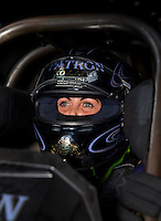 Aug 31, 2014; Clermont, IN, USA; NHRA funny car driver Alexis DeJoria during qualifying for the US Nationals at Lucas Oil Raceway. Mandatory Credit: Mark J. Rebilas-USA TODAY Sports