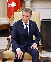 President Juan Manuel Santos of Colombia looks on during a meeting with United States President Donald J. Trump in the Oval Office of  the White House, on May 18, 2017 in Washington, DC. <br /> Credit: Olivier Douliery / Pool via CNP/MediaPunch