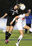 03 November 2010: Duke's Libby Jandl (3) and Maryland's Ashley Grove (right). The Maryland Terrapins defeated the Duke Blue Devils 1-0 in an ACC Women's Soccer Tournament quarterfinal game at Koka Booth Stadium at WakeMed Soccer Park in Cary, NC.