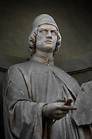 Detail of statue of Leon Battista Alberti , 16th century, on the facade of the Uffizi Gallery, Florence, Tuscany, Italy, pictured on June 10, 2007, in the morning. This statue of Leon Battista Alberti, 1404-72, humanist, is one of a gallery of sculptures of eminent Italian men whose works in the arts and sciences are remembered today. Florence, capital of Tuscany, is world famous for its Renaissance art and architecture. Its historical centre was declared a UNESCO World Heritage Site in 1982. Picture by Manuel Cohen