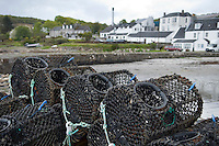 Isle of Jura, Hebrides, Scotland, May 2010. Crab and Lobster pods in front of the distillery. The Jura distillery is locagted next to the village of Craighouse on the Sound of Jura.  Dutch Tallship Thalassa sails between the islands along the Scotish west coast in search of the quality single malt whisky that is produced by the many distilleries. Photo by Frits Meyst/Adventure4ever.com