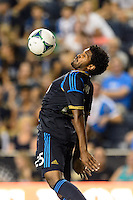 Sheanon Williams (25) of the Philadelphia Union. The Philadelphia Union defeated D. C. United 2-0 during a Major League Soccer (MLS) match at PPL Park in Chester, PA, on August 10, 2013.