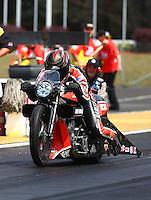 May 19, 2014; Commerce, GA, USA; NHRA pro stock motorcycle rider Eddie Krawiec during the Southern Nationals at Atlanta Dragway. Mandatory Credit: Mark J. Rebilas-USA TODAY Sports