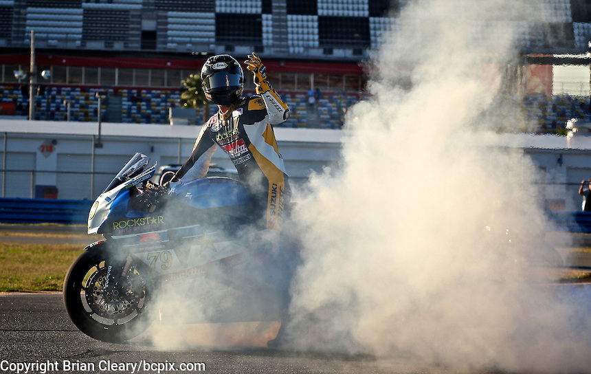 Blake Young (79) does a victory burnout after winning the AMA SuperBike motorcycle race at Daytona International Speedway, Daytona Beach, FL, March 2011.(Photo by Brian Cleary/www.bcpix.com)