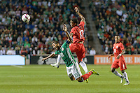 Bridgeview, IL, USA - Tuesday, October 11, 2016: Mexico forward Giovani dos Santos (10) and Panama defender Luis Ovalle (17) collide during an international friendly soccer match between Mexico and Panama at Toyota Park. Mexico won 1-0.