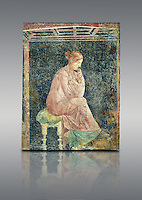 Roman fresco wall painting of a women thinking from the Villa Arianna (Adriana), Stabiae (Stabia) near Pompeii , inv 9097, Naples National Archaeological Museum , grey background