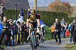 Gijs Van Hoecke (BEL) Lotto NL-Jumbo climbs Oude Kwaremont during the 60th edition of the Record Bank E3 Harelbeke 2017, Flanders, Belgium. 24th March 2017.<br /> Picture: Eoin Clarke   Cyclefile<br /> <br /> <br /> All photos usage must carry mandatory copyright credit (&copy; Cyclefile   Eoin Clarke)