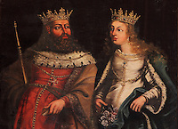 Portrait of King Denis I of Portugal, 1261-1325, and his wife Elizabeth of Aragon, 1271-1336, in the Great Room of Acts, or Sala dos Capelos, or Red Room, decorated in the 17th century by master builder Antonio Tavares and reworked in the 18th century, at the University of Coimbra in the royal palace or Paco Real, Coimbra, Portugal. Denis founded the University of Lisbon in 1290 with his decree 'Magna Charta Priveligiorum' and moved it to Coimbra in 1307, and promoted the use of the Latin language. The University of Coimbra moved to Coimbra in 1308 and to the royal palace in 1537. The buildings are listed as a historic monument and a UNESCO World Heritage Site. Picture by Manuel Cohen