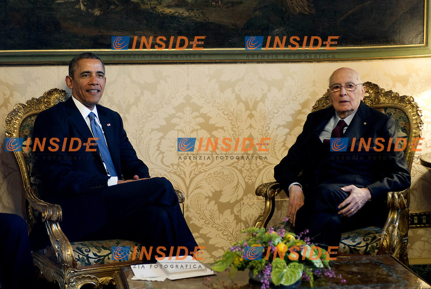 27/03/2014 Roma, Quirinale  il Presidente della Repubblica riceve il Presidente degli Stati Uniti d'America. Nella foto Giorgio Napolitano e Barack Obama.<br /> Meeting between italian President Giorgio Napolitano and United States President Barack Obama