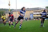 Max Clark of Bath United runs in a first half try. Remembrance Rugby match, between Bath United and the UK Armed Forces on May 10, 2017 at the Recreation Ground in Bath, England. Photo by: Patrick Khachfe / Onside Images