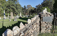 The historical Arvonia Memorial Cemetery located in Buckingham County, Va. The Arvonia Memorial Cemetery contains the graves of many of those Welshmen<br /> who gave their talents and energy working with Buckingham slate. On the intricately carved headstones, the names and dates are carved in English, the<br /> epitaphs are carved in Welsh. Photo/Andrew Shurtleff