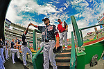 3 September 2012: Washington Nationals pitcher Ross Detwiler steps down into the dugout, followed by pitching coach Steve McCatty prior to a game against the Chicago Cubs at Nationals Park in Washington, DC. The Nationals edged out the visiting Cubs 2-1, in the first game of heir 4-game series. Mandatory Credit: Ed Wolfstein Photo