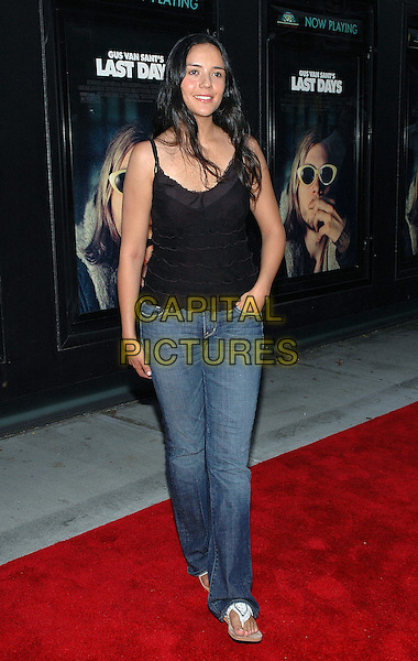 """CATALLINA S. MORENO.The premiere of the new film, """"Last Days"""", at The Sunshine Theater in Manhattan, New York, New York..July 19th, 2005.Photo Credit: Patti Ouderkirk/AdMedia.full length black top layers ruffles jeans denim.www.capitalpictures.com.sales@capitalpictures.com.© Capital Pictures."""