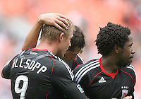 Danny Allsopp #9 of D.C. United after scoring during an MLS match against the Philadelphia Union at RFK Stadium on August 22 2010, in Washington DC. United won 2-0.