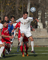 Boston College midfielder/defender Colin Murphy (21) attempts to control the ball. Rutgers University defeated Boston College in penalty kicks after two overtime periods in NCAA Division I tournament action, at Newton Campus Field, November 20, 2011.