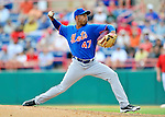 10 March 2012: New York Mets pitcher Miguel Batista on the mound during a Spring Training game against the Washington Nationals at Space Coast Stadium in Viera, Florida. The Nationals defeated the Mets 8-2 in Grapefruit League play. Mandatory Credit: Ed Wolfstein Photo