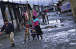 The poorest Roma can live in the most miserable conditions. Slivinia, Slovakia 2004