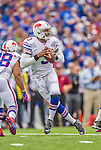 14 September 2014: Buffalo Bills quarterback EJ Manuel looks downfield for a receiver in the first quarter against the Miami Dolphins at Ralph Wilson Stadium in Orchard Park, NY. The Bills defeated the Dolphins 29-10 to win their home opener and start the season with a 2-0 record. Mandatory Credit: Ed Wolfstein Photo *** RAW (NEF) Image File Available ***