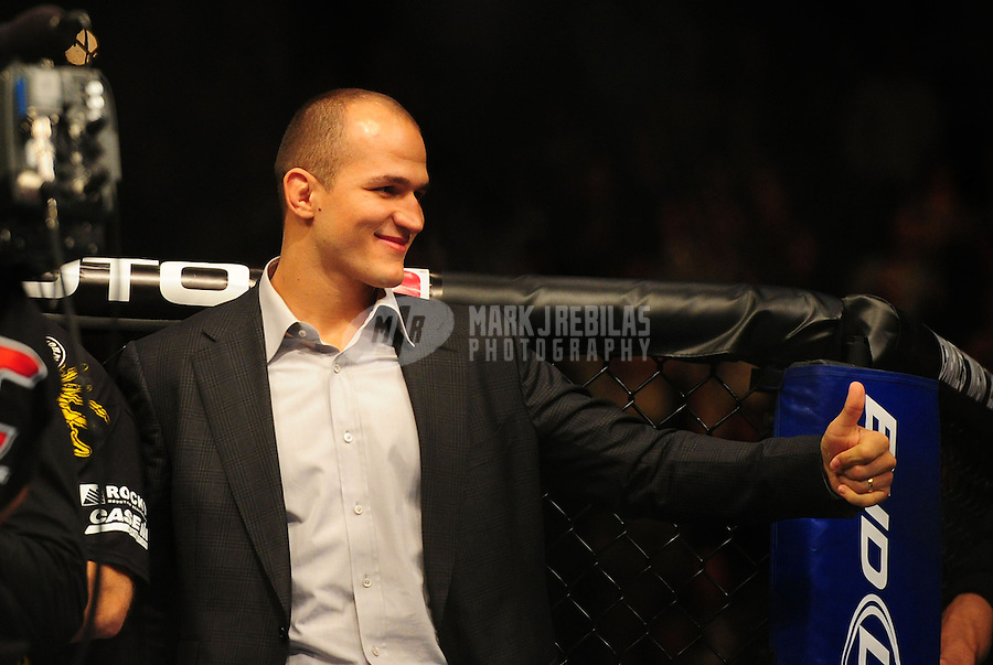 Dec 30, 2011; Las Vegas, NV, USA; UFC fighter Junior Dos Santos in attendance during a heavyweight bout at UFC 141 at the MGM Grand Garden event center. Mandatory Credit: Mark J. Rebilas-