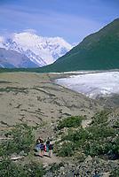 Hiking to the Root glacier, Mount Blackburn, Kennicottt, Wrangell St. Elias National Park, Alaska.