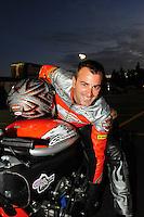 Nov. 13, 2011; Pomona, CA, USA; NHRA pro stock motorcycle rider Eddie Krawiec during the Auto Club Finals at Auto Club Raceway at Pomona. Mandatory Credit: Mark J. Rebilas-.