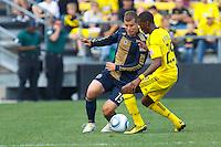 24 OCTOBER 2010:  Philadelphia Union forward Alejandro Moreno (15) and Columbus Crew defender Shaun Francis (29) during MLS soccer game at Crew Stadium in Columbus, Ohio on August 28, 2010.