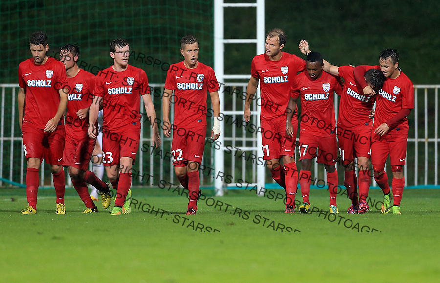 Fudbal Football Soccer<br /> UEFA Europa league-Second qualifying round, First leg<br /> Cukaricki v Grodig Austria<br /> Daniel Sch&uuml;tz (R) celebrate the goal with team mates <br /> Beograd, 07.17.2014.<br /> foto: Srdjan Stevanovic/Starsportphoto &copy;