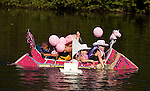 COLEBROOK, CT--- -090515JS08- The S.S. Unicorn makes its way through the course during the annual Colebrook Fair's cardboard boat regatta Saturday at the Colebrook Town Pond. <br />  Jim Shannon Republican-American