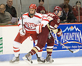 Justin Courtnall (BU - 19), Patch Alber (BC - 27) - The visiting Boston College Eagles defeated the Boston University Terriers 3-2 to sweep their Hockey East series on Friday, January 21, 2011, at Agganis Arena in Boston, Massachusetts.