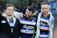 Guy Mercer of Bath Rugby looks on in a post-match huddle. Aviva Premiership match, between Bath Rugby and London Irish on March 5, 2016 at the Recreation Ground in Bath, England. Photo by: Patrick Khachfe / Onside Images