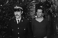 Pix: Copyright Anglia Press Agency/Archived via SWpix.com. The Bamber Killings. August 1985. Murders of Neville and June Bamber, daughter Sheila Caffell and her twin boys. Jeremy Bamber convicted of killings serving life...copyright photograph>>Anglia Press Agency>>07811 267 706>>..A smiling Jeremy Bamber leaves Maldon Police station after arrest. no date..ref 0002 neg 5....