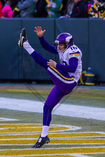 Minnesota Vikings punter Jeff Locke (18) prior to a game against the Green Bay Packers on December 24th, 2016 at Lambeau Field in Green Bay, Wisconsin.  Green Bay defeated Minnesota 38-25. (Brad Krause/Krause Sports Photography)