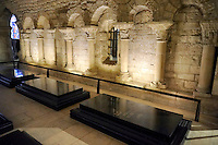 Tombs of French Kings in the crypt of The Cathedral Basilica of Saint Denis ( Basilique Saint-Denis ) Paris, France. A UNESCO World Heritage Site.