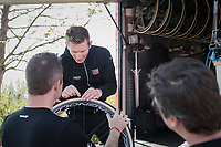Andr&eacute; Greipel (DEU/Lotto-Soudal) personally checking his bike &amp; tires to be race-ready<br /> <br /> Team Lotto-Soudal final prep for Paris-Roubaix 2017 1 day before the race
