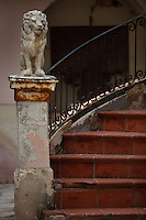 Detail of stairs and the sculpture of a lion in a courtyard in Ortigia, Syracuse, Sicily, pictured on September 13, 2009, in the afternoon. The 2,700 year old Syracuse is a province and a city in southern Italy on the Island of Sicily. The island Ortigia is the historic centre of Syracuse. Today the city is a UNESCO World Heritage Site. Founded by Ancient Greek Corinthians and allied with Sparta and Corinth, it was a very powerful city-state and one of the major powers of the Mediterranean.  In the 17th century it was heavily destroyed by an earthquake. Many buildings date back to the  19th century when it regained importance. Picture by Manuel Cohen.