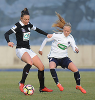 20170129 - LILLE , FRANCE : LOSC's Silke Demeyere (R) and Juvisy's Gaetane Thiney (R) pictured during women soccer game between the women teams of Lille OSC and FFC Juvisy Essonne  during the 1/16 final for the 2017 French Cup at stade Lille Metropole , Sunday 29th of January ,  PHOTO Dirk Vuylsteke | Sportpix.Be