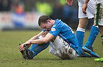 St Johnstone v Celtic.....14.02.15<br /> Chris Kane suffers from a tackle by Jason Denayer<br /> Picture by Graeme Hart.<br /> Copyright Perthshire Picture Agency<br /> Tel: 01738 623350  Mobile: 07990 594431
