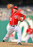 2 April 2011: Washington Nationals pitcher Drew Storen in action against the Atlanta Braves at Nationals Park in Washington, District of Columbia. The Nationals defeated the Braves 6-3 in the second game of their season opening series. Mandatory Credit: Ed Wolfstein Photo