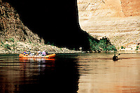 kayak support boat and kayak in the eddy