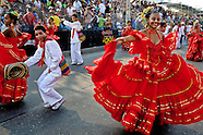 Colombian couple dance Cumbia during the Carnival in Barranquilla, Colombia, 26 February 2006. The Carnival of Barranquilla is a unique festivity which takes place every year during February or March on the Caribbean coast of Colombia. A colourful mixture of the ancient African tribal dances and the Spanish music influence - cumbia, porro, mapale, puya, congo among others - hit for five days nearly all central streets of Barranquilla. Those traditions kept for centuries by Black African slaves have had the great impact on Colombian culture and Colombian society. In November 2003 the Carnival of Barranquilla was proclaimed as the Masterpiece of the Oral and Intangible Heritage of Humanity by UNESCO.